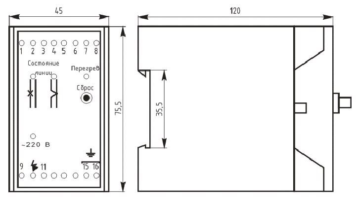 1, 2, 3, 4 - клеммы для подключения цепей управления двигателем.  5, 6 - клеммы для подачи сигнала аварии на...